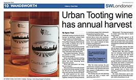 Urban Tooting wine has annual harvest